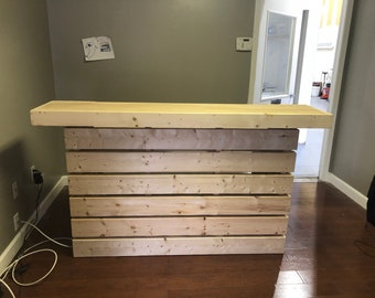 Hello Elyse - Pallet style  2 level reception desk, sales counter or bar, unfinished