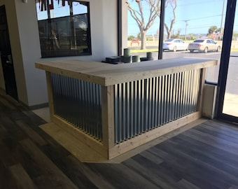 The L Shaped Counter - 8' x 6' foot corrugated metal bar, sales counter, reception desk, unfinished