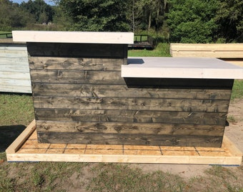 The LaMont Ebony/White top - 7' Pallet style rustic reception desk, bar  or sales counter