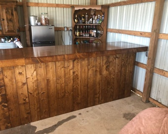 The Early American - 12' Rustic Finished Barnwood or Pallet Style Bar, Sales Counter, Reception Desk