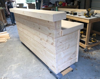 6' Hello Shabby Unfinished - Shabby Chic Rustic Barn Wood Style, Pallet Style 2 level Reception desk