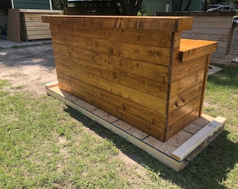 5' Hello Shabby Canyon - Shabby Chic Rustic Barn Wood Style, Pallet Style 2 level Reception desk, shp 190
