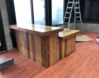 The 2 Level Maggie - Rustic Pallet or Barn wood look 6 x 6 reception desk or sales counter with ADA or POS drop