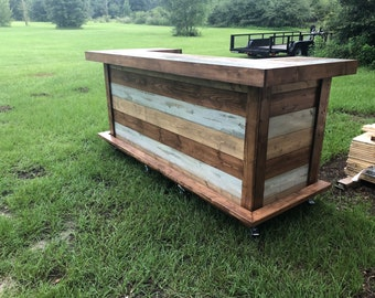 All Wood Thomas Maggie Shabby  - 3' x 8' X 3'  2-level Shabby Chic Rustic Barn Wood Style, Pallet Style outdoor covered or indoor bar