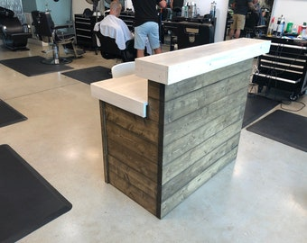 The Coffee and White Shabby - 4 foot Shabby Chic Rustic Barn Wood or Pallet Style 2 level Reception desk