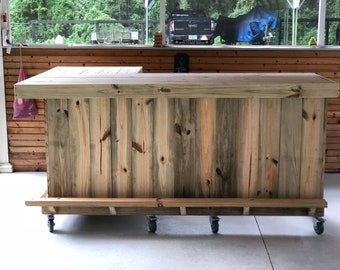 Outdoor pallet furniture Painted The Original 7 45 Shaped Rustic Treated Wood Outdoor Patio Bar Etsy Outdoor Pallet Furniture Etsy