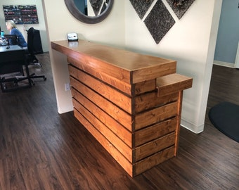 Custom Hello Elyse Chestnut - 4'  Pallet style 2 level reception desk, 250 shipping included