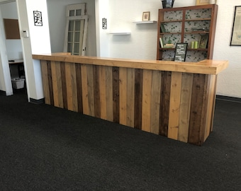 The Sarasota - 12 foot rustic barnwood look 2 person 2 level Reception Desk, retail counter or Bar