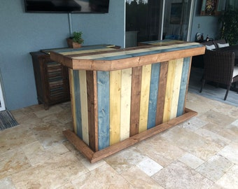 The Beachcomber Green- 6' Rustic Finished Barnwood or Pallet Style Bar, Sales Counter, Reception Desk