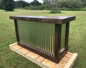 The Espresso Mini - 6' rustic corrugated metal mini L shaped dry bar, reception desk, sales counter