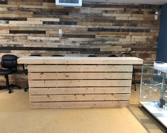 The 8' Hello Elyse - Pallet style  2 level reception desk, unfinished