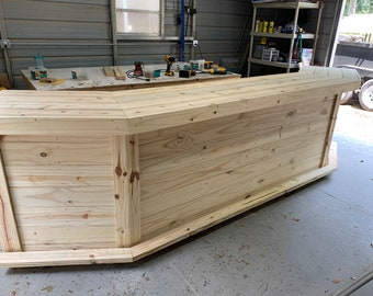 """Angle - 13' Rustic Real wood outdoor pressure treated bar. 8' center, 34"""" wings with shelf, ship 375"""