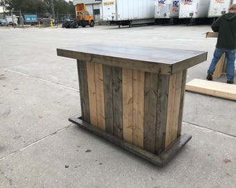 The Shady Lady - 5' Rustic Finished Barnwood or Pallet Style Bar, Sales Counter reception desk
