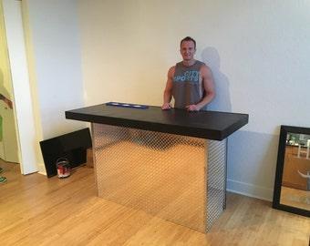 The Diamond - 6'  diamond tread plate metal indoor dry bar or sales counter or reception desk