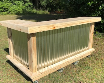 The Metal Kitchen - 7' x 4.5' 2 level L shaped rustic wood and corrugated metal outdoor patio bar
