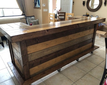 The All Wood Thomas Maggie  - 3' x 8' X 3' two level  Rustic barn wood look or pallet style indoor / outdoor bar with casters and foot rail