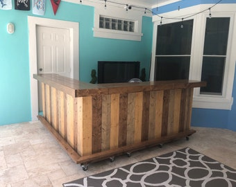 Custom Horizonal Shabby Kitchen - 8 x 6, leg right Rustic Pallet or Barn wood 2 level outdoor bar with casters, foot rail and bottom shelf