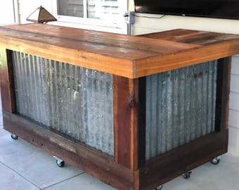 The Rough And Rustic L Shaped Bar   7u0027 X 4u0027 L Shaped Repurposed Barn Wood  And Corrugated Rusted Metal Bar, Sales Counter Or Reception Desk