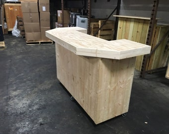 The Smooth Pallet - 6' pallet style rustic or industrial u shaped dry bar, unfinished