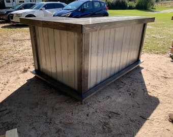 L Shaped 400 shabby barn - 7 x 4.5 Shabby Chic Rustic Barn Wood Style, Pallet Style outdoor covered or indoor bar