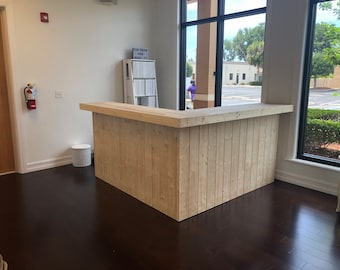 Johnny's Reception desk - 7 x 7 2 level L shaped rustic pallet look Reception desk or indoor bar, unfinished