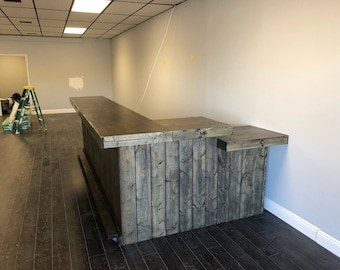 The Ebony Lounge - 12' x 6' rustic barn wood or pallet look retail sales counter, reception desk, with POS or ADA drop