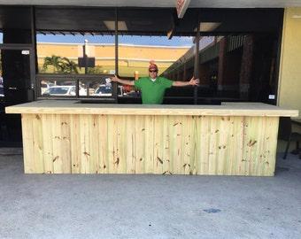 Mega U Shape - 4.5' x 14' x 4.5' Rustic style real pressure treated wood outdoor or indoor patio bar