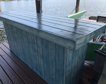 Blue Straight Top 8' - Rustic wood barn wood style, pallet style outdoor covered or indoor patio bar