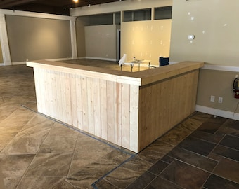 The Jasmine  - 9 x 7 foot L shaped  2 level unfinished pallet style Reception Desk, Retal Counter, or bar