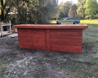 The Big Red Lounge - 11 x 7 rustic barn wood or pallet look retail sales counter, reception desk, with POS or ADA drop