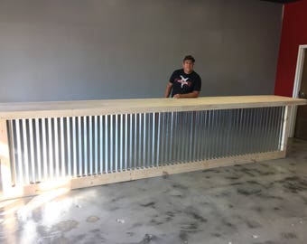 The Vapor - 16' corrugated metal rustic or industrial sales counter, POS, reception desk