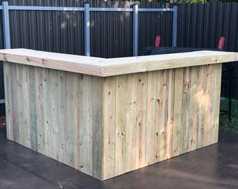Johnny's Kitchen - 7' x 7' 2-Level L shaped rustic pressure treated wood bar