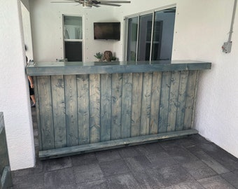 Steve's Blue Beach Bar - 8' Two level Rustic Outdoor Patio Bar with footrail and Mini-fridge space