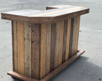 Planktop Maggie - 6' Rustic, real wood indoor or outdoor covered patio bar