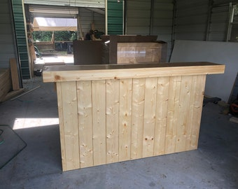 The Finished Buffet Jr. - 6' 2 level Pine and Birch pallet style reception desk, sales counter or bar