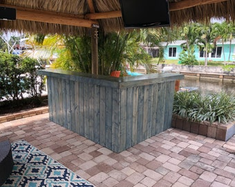 Blue Beach Bar Kitchen - 8 x 4.5  2-level Shabby Chic Rustic Pallet Style outdoor covered bar, leg right, casters, 2nd shelf