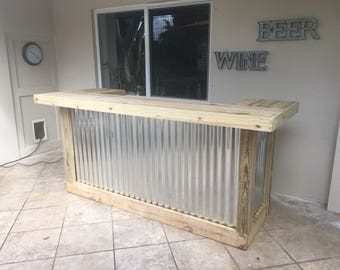 The Thomas - 3' x 8' X 3' two level Rustic Corrugated Metal and Treated Wood U shaped outdoor patio bar