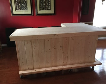 The Indoor L - 7' x 4.5' rustic or industrial indoor dry bar  pallet style.  Made with real wood