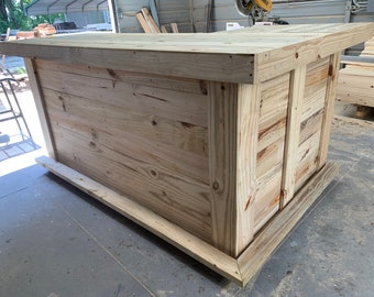 Horizontal L Shape - 7 x 4.5 Rustic real pressure treated wood barn wood style, pallet style outdoor or indoor patio bar