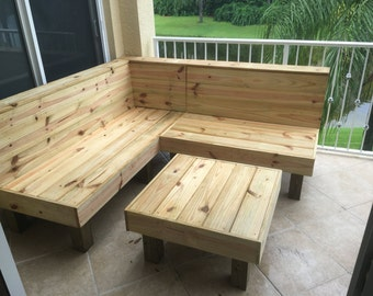 The Sectional   Rustic Wood Patio Benches And Table Or Ottoman. Makes A 6x6  Sectional