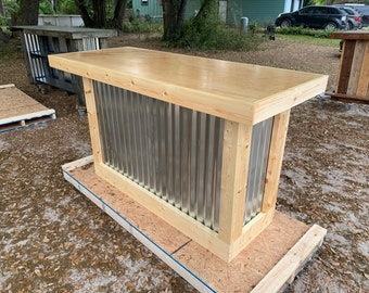 Natural Finished Bar Counter 6' - Polyurethaned Rustic style wood & corrugated metal bar or sales counter