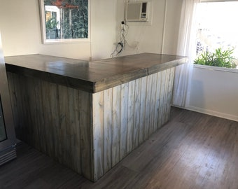 The Shabby L Bar - 7 x 6 rustic barn wood style bar, sales counter, or reception desk