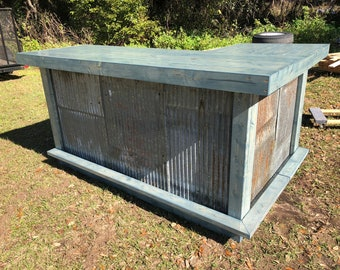 The Rusty Blue Beach Bar- 7 x 4.5 Wood and repurposed corrugated Metal outdoor patio bar