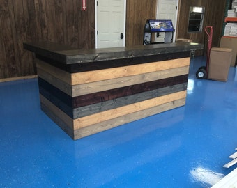 The Wolfgang - 8 x 5 Rustic 2 Level Finished Barnwood Look or Pallet Style Bar, Sales Counter, Reception Desk
