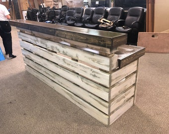 Hello Shabby 1.5 - Shabby Chic Rustic Barn Wood Style, Pallet Style 2 level Reception desk
