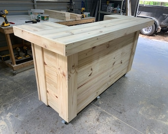 """Wood Thomas,Skinny- 30"""" x 8' X 30"""" ' 2 level Rustic real pressure treated wood barn wood style, pallet style  outdoor patio bar"""