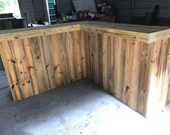 Reverse Kitchen - 7 x 7 2-Level L shaped rustic pressure treated wood bar