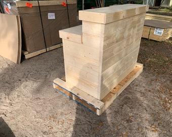 Flush Hello Shabby Unfinished - Shabby Chic Rustic Barn Wood Style, Pallet Style 2 level Reception desk