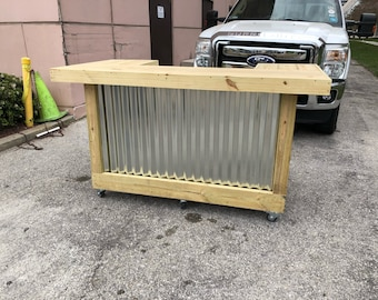 Wood/Metal Thomas  - 3' x 6' x 3' 2-level rustic corrugated metal and real pressure treated wood outdoor or indoor patio bar