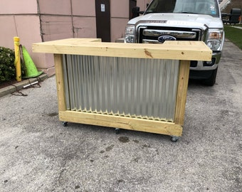 The Thomas Juinor - 3' x 6' X 3' two level Rustic Corrugated Metal and Treated Wood U shaped outdoor patio bar w/ casters and 2 shelves